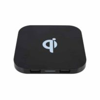 Cargador Wireless Cuadrado Negro con logotipo